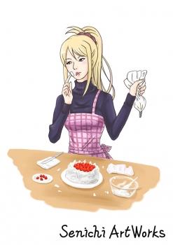 クリスマスケーキを準備中のリサ