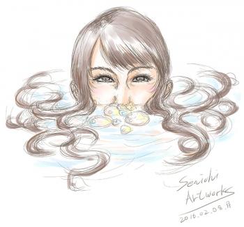 水面から顔を出す女
