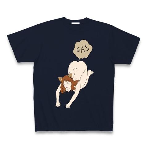 猫ポーズでおならをする女性 Tシャツ