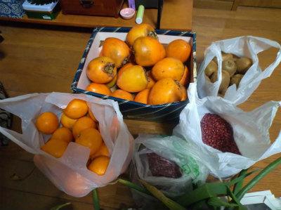 12.14貰い物の果物と小豆
