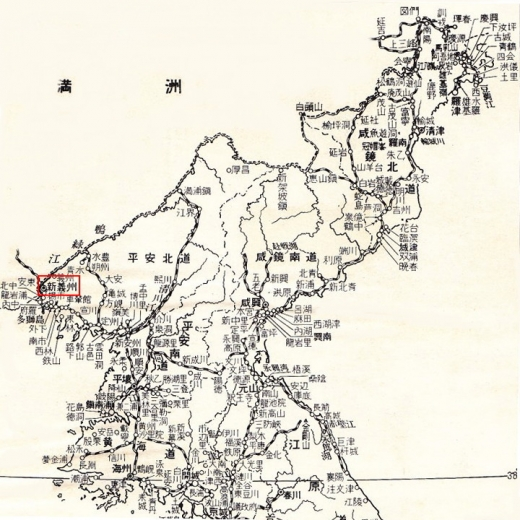 北朝鮮地図7新義州