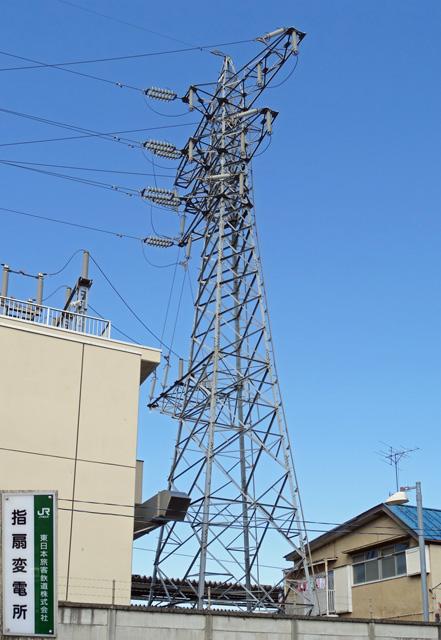JR指扇線1号鉄塔と変電所