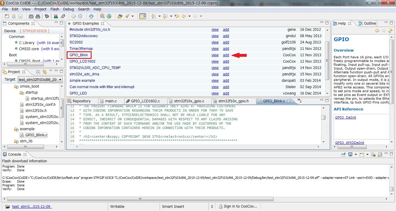 CoIDE add exmaple code