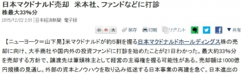 news日本マクドナルド売却 米本社、ファンドなどに打診