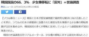 news韓国国民の66.3% 少女像移転に「反対」=世論調査