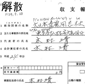 政治資金収支報告書 大日本青嵐同志社