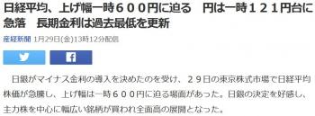 news日経平均、上げ幅一時600円に迫る 円は一時121円台に急落 長期金利は過去最低を更新
