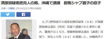 news清原容疑者密売人の男、沖縄で逮捕 群馬シャブ親子の息子