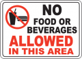 The sign says no beverages are allowed