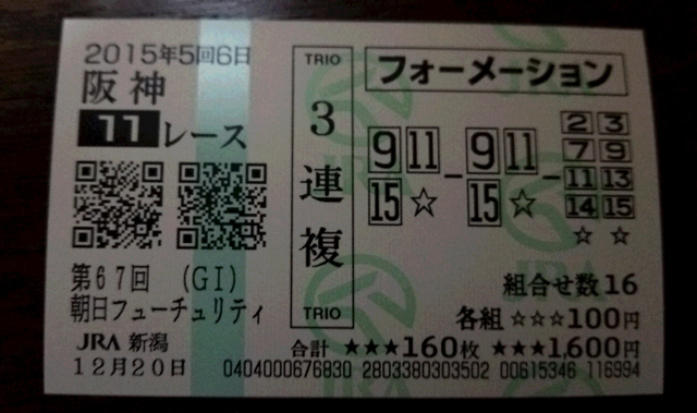 朝日杯FS2015馬券