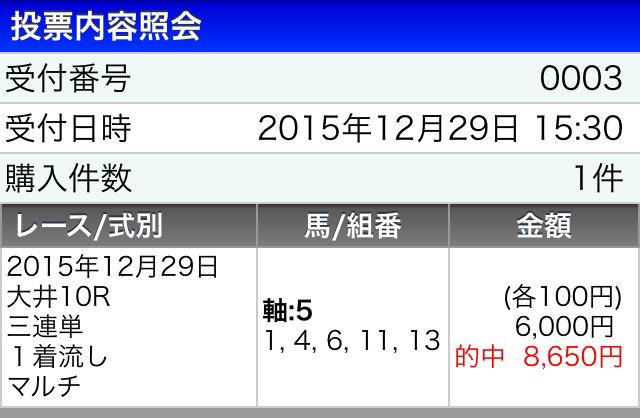 東京大賞典2015馬券