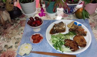 晩御飯 サバ煮つけ・肉じゃが・コロッケ・酢蓮