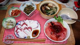 マグロ丼 てっちり タコ刺し 大根菜・大根酢物・きむち