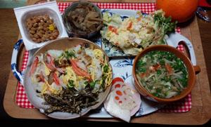 晩御飯 あなご寿司 牛蒡スープ ポテトサラダ 煮物