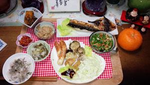 前の日の晩御飯 天ぷら・南京小豆の煮物