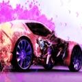 紫に包まれる車