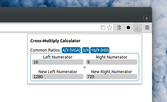 Cross Multiply Calculator Chrome拡張 電卓 比例式