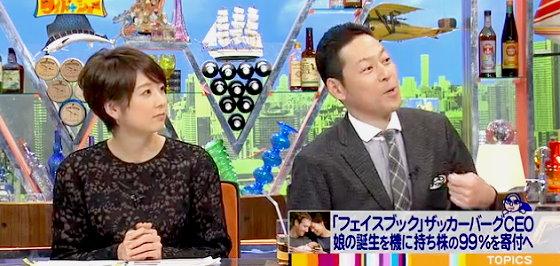 ワイドナショー画像 秋元優里アナ 東野幸治 ザッカーバーグがフェイスブック株の99%を寄付というニュースを進行 2015年12月6日