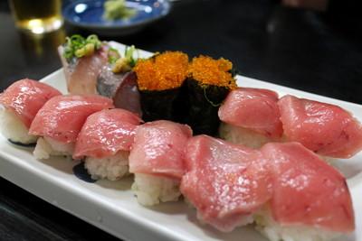 15 - Aji Mackerel Salmon Roe and Toro Tuna Belly