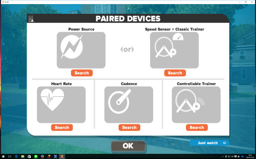 zwiftセンサー認識画面