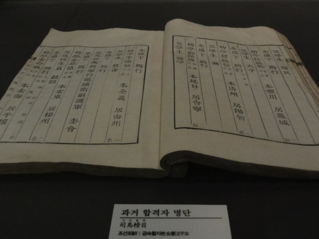 2015年11月18日 慶北聞慶 イェッキル博物館 科挙合格者名簿