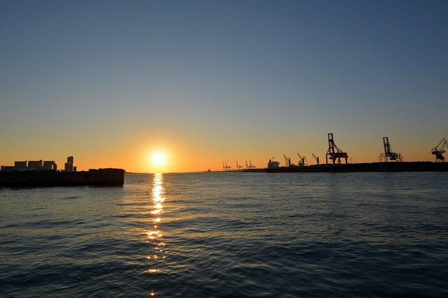天保山岩壁からの夕陽・夕景 (1)