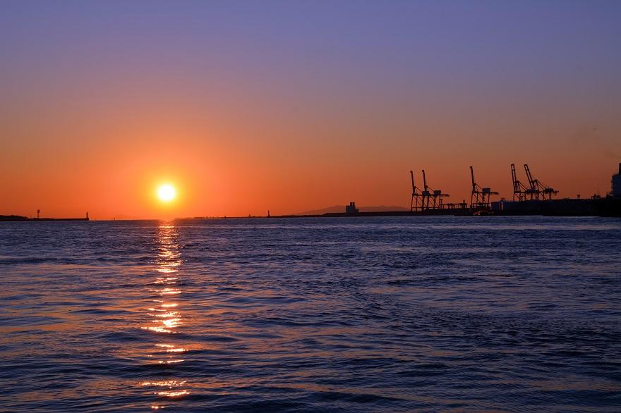 天保山岩壁からの夕陽・夕景 (5)