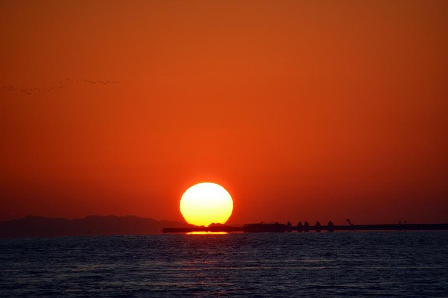 天保山岩壁からの夕陽・夕景 (7)
