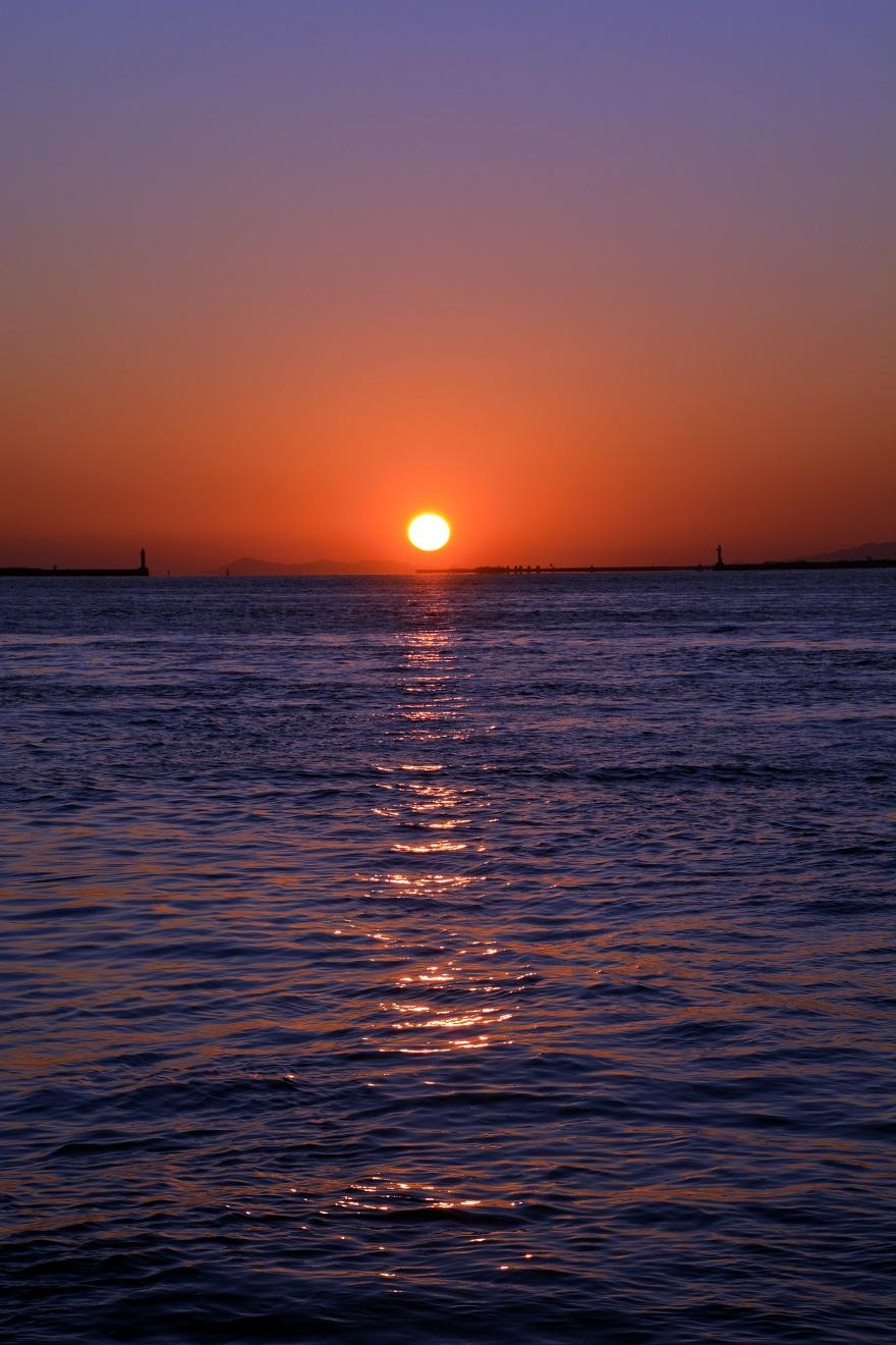 天保山岩壁からの夕陽・夕景 (6)