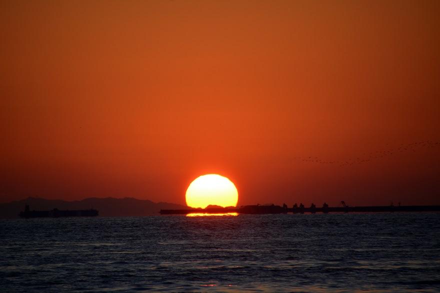 天保山岩壁からの夕陽・夕景 (8)