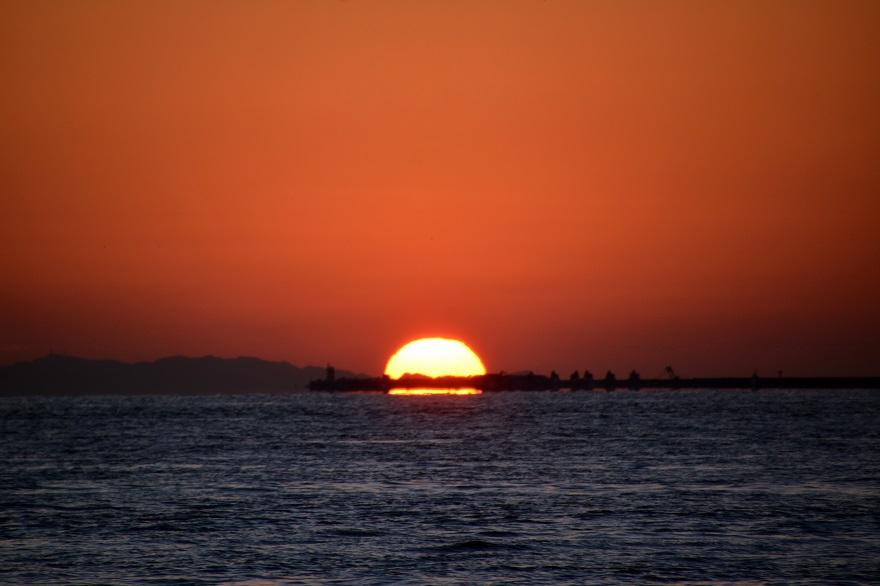 天保山岩壁からの夕陽・夕景 (9)