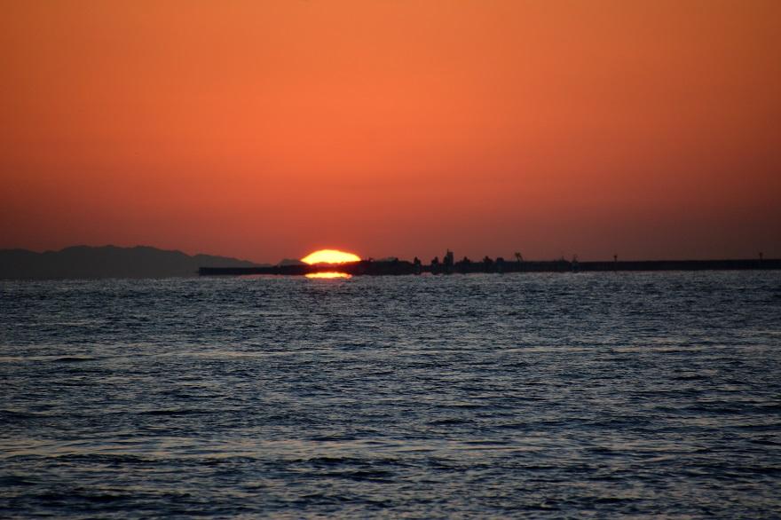 天保山岩壁からの夕陽・夕景 (10)
