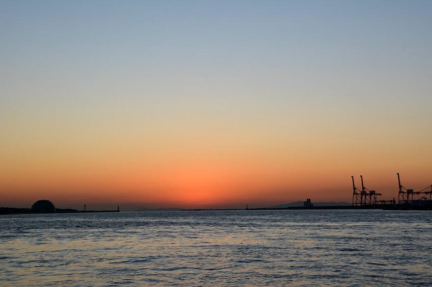 天保山岩壁からの夕陽・夕景 (13)
