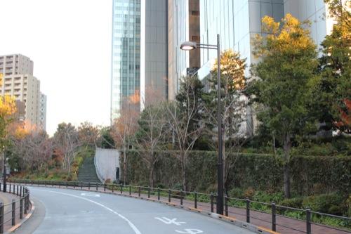 0048:ソニーシティー大崎 南側道路から緑地を見る