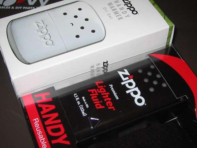 Zippo ハンディウォーマー & オイルセット ZHW-15、以前購入した Zippo ハンディウォーマー & オイルセット ZHW-JF(画像右側)とパッケージの厚み比較