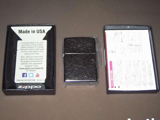 Zippo ジッポー スタンダード クローム バレル仕上げ 207 パッケージケース、Zippo ライター本体、取扱説明書兼保証書