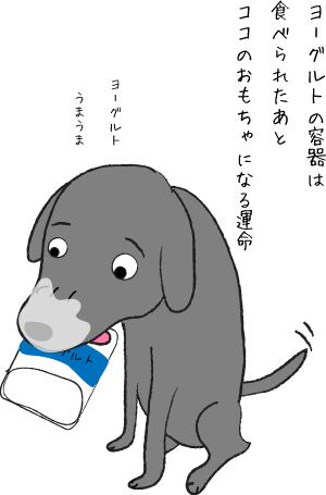 ヨーグルトを食べる犬