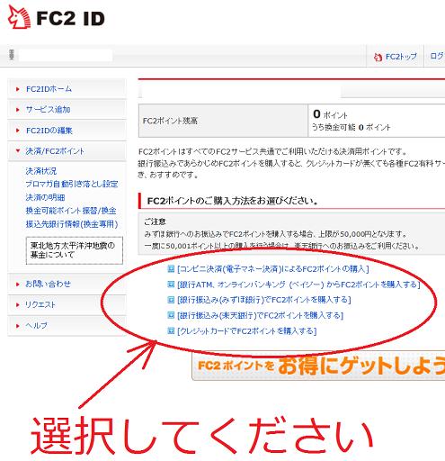 FC2ポイントの購入方法2