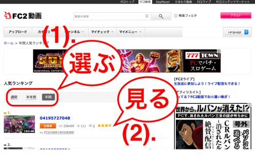 FC2動画の人気ランキング2