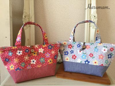 YUWA・ポップな花柄で作った双子ちゃんみたいなトートバッグ