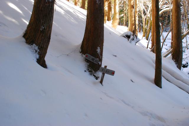 雪に埋まった登山標識
