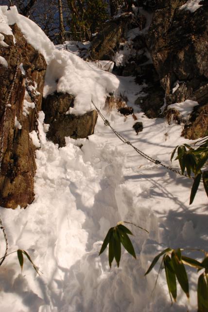 難所の岩場_雪が深く登れず