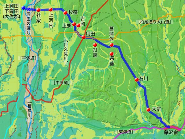 厚木道:高座郡中の各村の位置
