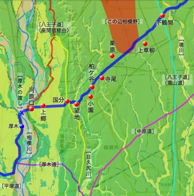 矢倉沢道:高座郡中の各村の位置