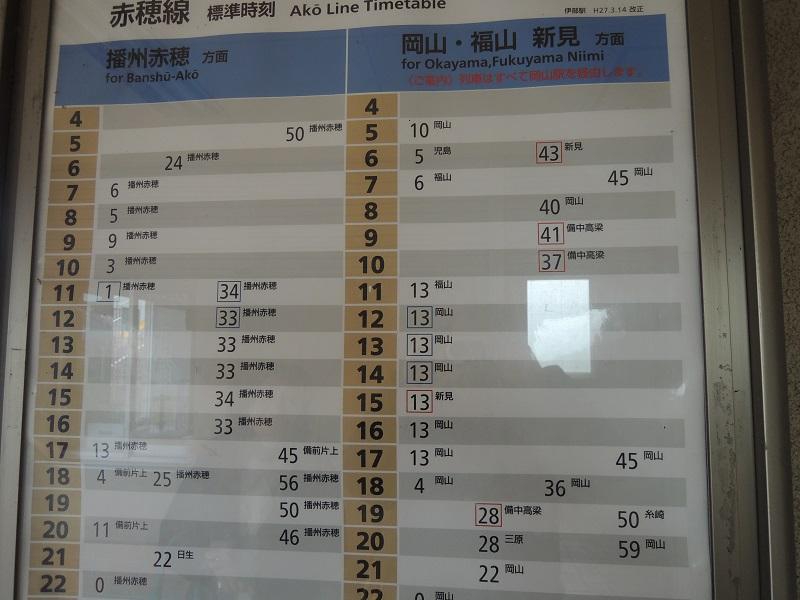伊部駅の時刻表