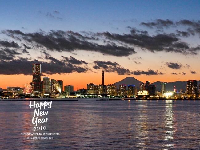 横浜港の夜景(夕景)