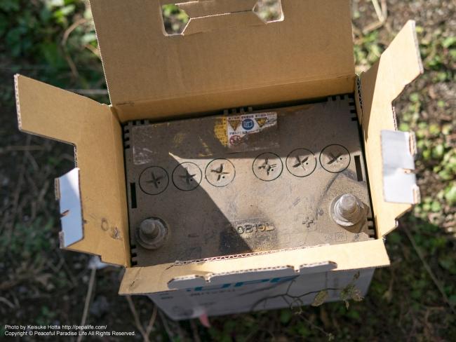 廃バッテリーを箱に入れて