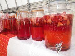 [写真]試作中のいちご酢の瓶が並んでいる様子