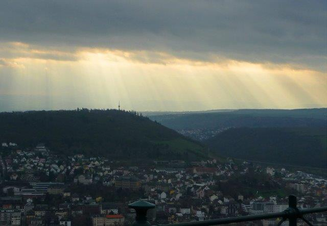 Rudesheim, Blick auf Nahetal, Sonnenstrahlen, P1060579