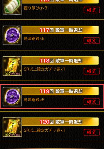119退却で島津銅銭200枚